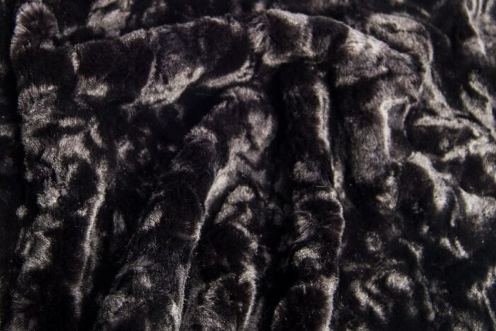 Faux fur by the metre Super soft black pleated faux fur fabric – 1164 black