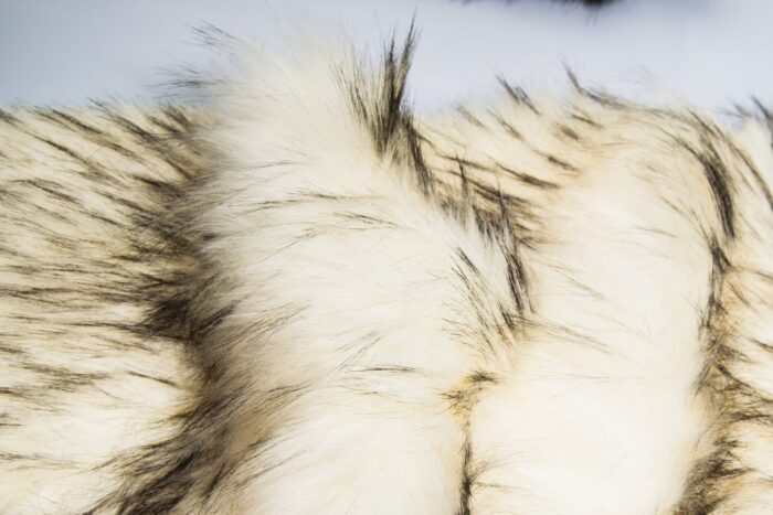 Faux fur by the metre Faux fur fabric by the meter, imitation raccoon, white with black tipping – 1536 White Black