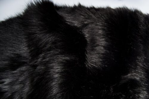 Faux fur by the metre Luxury Siberian long pile faux fur fabric by the meter in black colour – 1539 Black