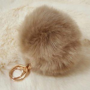 Accessories Fake fur Pompom key ring camel