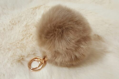 Ready made products Fake fur Pompom key ring camel