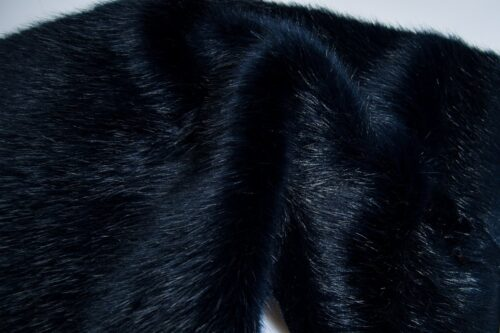 Faux fur by the metre Luxury faux mink fur fabric, super soft, blue / black – Saluki 3025 Blue/Black