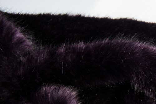 Faux fur by the metre Luxury faux mink fur fabric, super soft, purple / black – Saluki 3025 Purple Black
