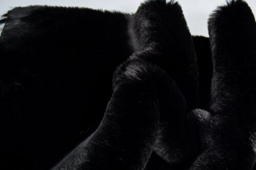 Faux fur by the metre Super soft black with extra black tipping rabbit style faux fur fabric – 3105 Black/Black