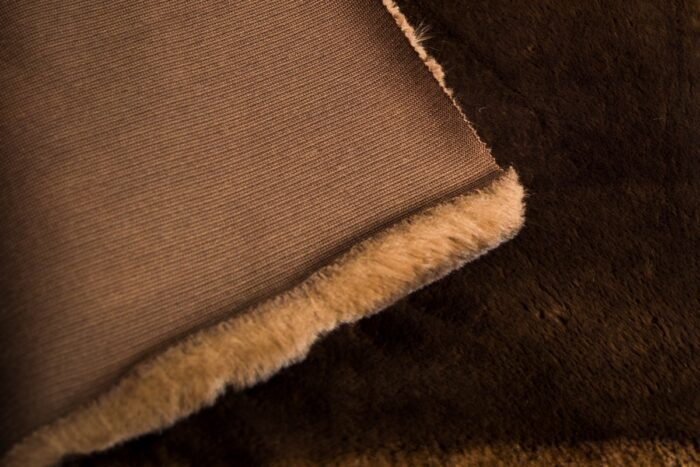 Faux fur by the metre Super soft brown with a dark brown tipping rabbit style faux fur fabric – 3105 Brown/Dk.Brown
