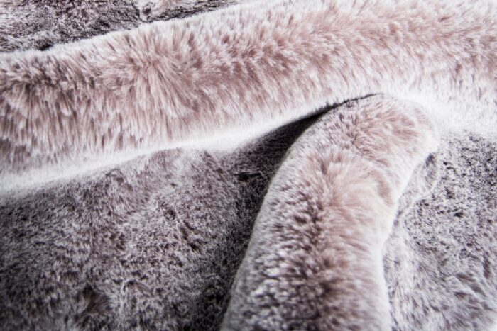 Faux fur by the metre Super soft taupe with a silver tipping rabbit style faux fur fabric – 3105 Taupe/Silver