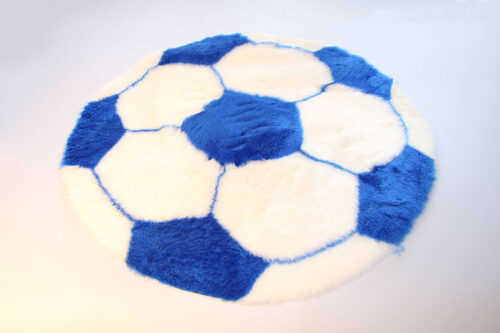 Ready made products Soccer rug – White and blue – 70 cm in diameter