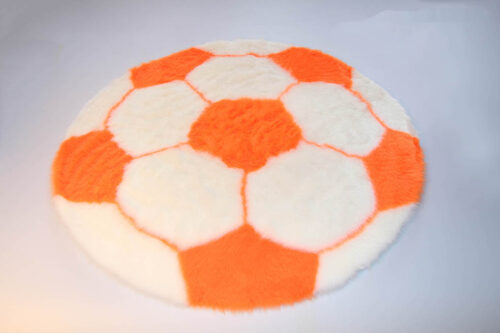 Ready made products Football rug – White and orange – 70 cm in diameter