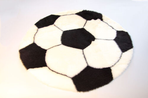 Ready made products Football rug – White and black – 70 cm in diameter