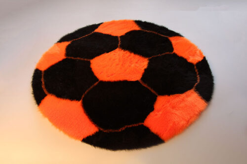 Ready made products Soccer rug – Black and orange – 70 cm in diameter