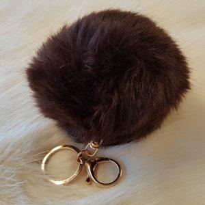 Accessories Fake fur Pompom key ring brown