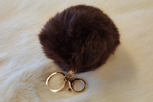 Ready made products Fake fur Pompom key ring brown