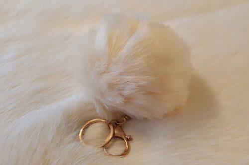 Ready made products Fake fur Pompom key ring beige