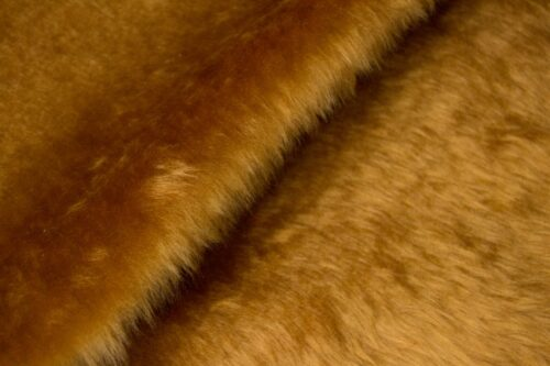 Faux fur by the metre Low price honey brown faux fur short pile – W1/60-Honey
