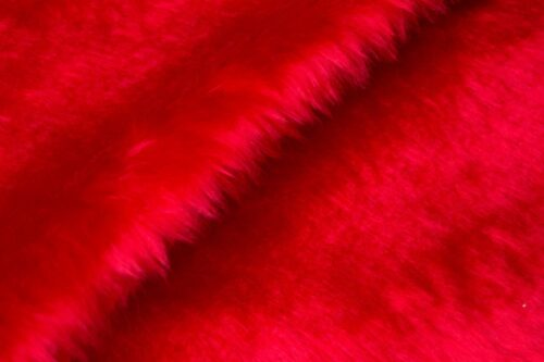 Faux fur by the metre Low price red faux fur fabric short pile – W1/60-R-Red
