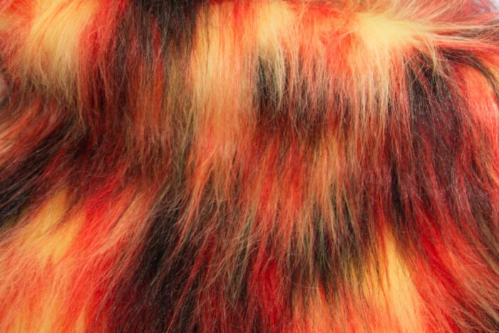 Budget faux fur Red and black faux fur fabric by the meter for disguise, costumes, cosplay – YF 59/3 429/18