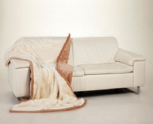 Ready made products Cream throw, bonded with beige velboa (suedine) 120×150