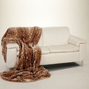 Ready made products Bedspread in brown civet animal print 200×240 cm