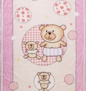 Ready made products Pink playpen blanket with bear 100 / 140 cm