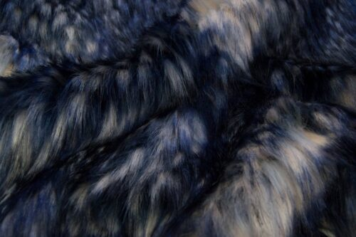 Faux fur by the metre Multicoloured faux fur fabric in blue shades – 1597 Blue Gray