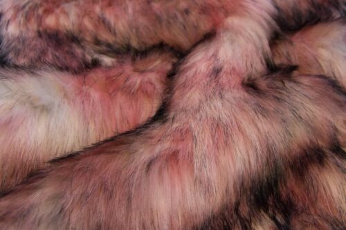 Faux fur by the metre Multicoloured faux fur fabric in pink shades – 1597 Pink Grey