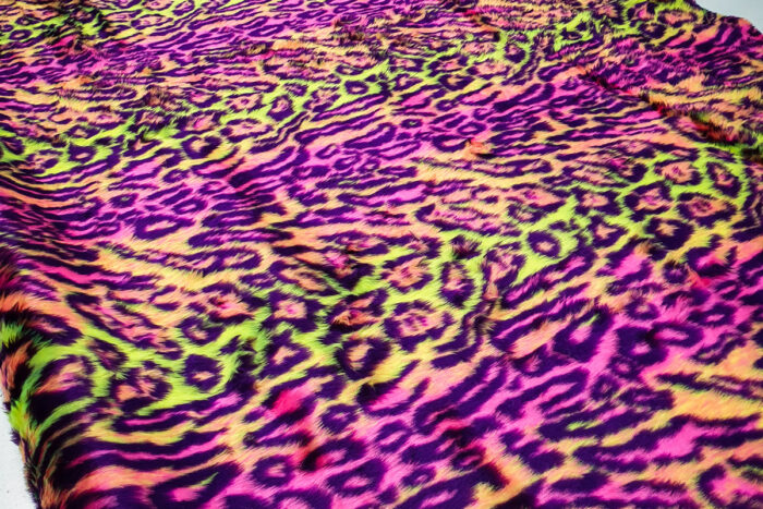 Budget faux fur Multicolor jaguar faux fur fabric by the meter for disguise, costumes, cosplay – R2/60/3 FG 81/3 Jaguar 111/4