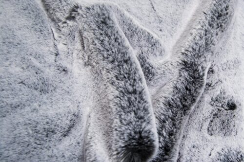 Faux fur by the metre Super soft faux fur fabric imitating rabbit, black silver – 3091 Black Silver