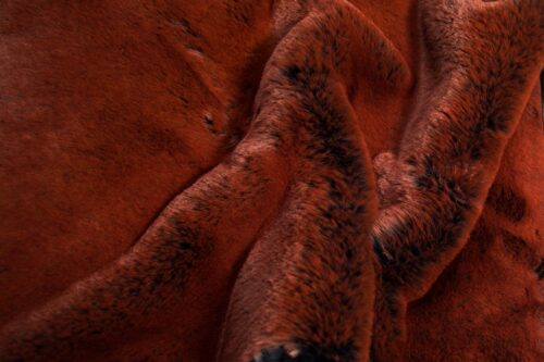 Faux fur by the metre Super soft faux fur fabric imitating rabbit, navy blue/rust – 3091 Navy Rust