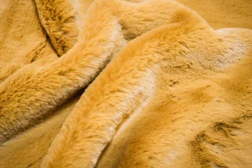 Faux fur by the metre Super soft gold rabbit style faux fur fabric – 2R333 Autumn Gold