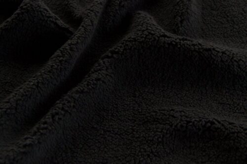 Faux fur by the metre Super Soft Black Sherpa Fleece Faux Fur Fabric By The Metre – 2R307 black