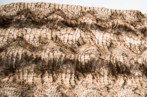 Faux fur by the metre Super Soft Golden-Brown Crocodile Faux Fur Fabric By The Metre – 2RK346 Gold