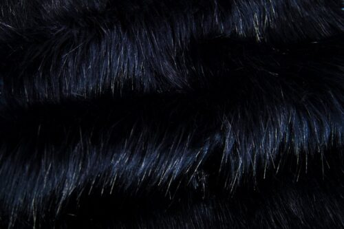 Faux fur by the metre Luxurious long haired navy blue fox imitation faux fur fabric by the meter – 7552 Navy