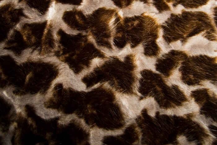 Faux fur by the metre Super soft faux fur fabric by the meter, rabbit patches style – 3071 Silver/D.Brown