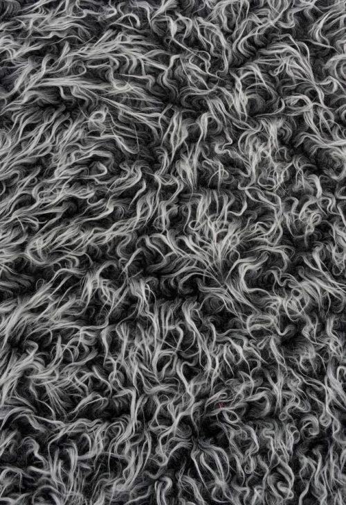 Budget faux fur Low price black frost curly faux fur – AC530 Black Frost