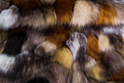 Faux fur by the metre Brown Fox Patches Faux Fur Fabric By The Metre – 1612 Beige/Gold