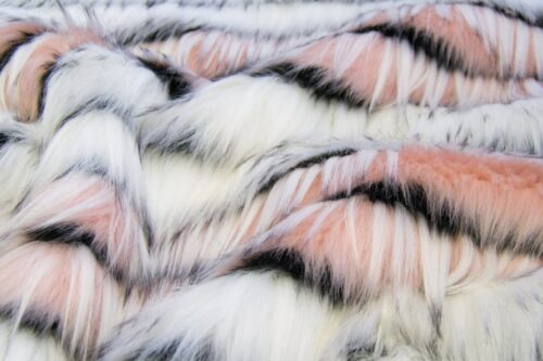 Faux fur by the metre Eyelashed Pink/White Faux Fur Fabric By The Metre – 1613 Pink/White