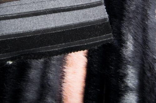 Faux fur by the metre Striped Mink Faux Fur Fabric By The Metre – 1625 Black/Grey Pink