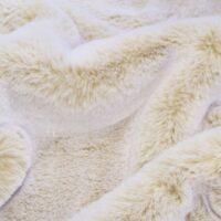 Faux fur by the metre Sand/White Rabbit Luxurious Faux Fur Fabric By The Metre – 1633 Sand/White