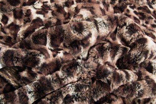 Faux fur by the metre Faux fur fabric by the metre brown leopard imitation – 2RK345 Brown