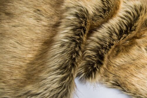 Faux fur by the metre Brown Wolf Faux Fur Fabric By The Metre – 3054 Brown/Beige