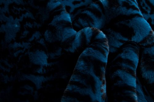 Faux fur by the metre Blue Leopard Faux Fur Fabric By The Metre – 3100 Blue