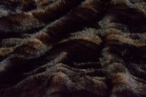 Faux fur by the metre Brown Textured Mink Faux Fur Fabric By The Metre – 7588 Plaited Mink Brown/Black