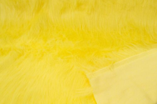 Faux fur by the metre Low price flavine yellow longhaired faux fur – AC356