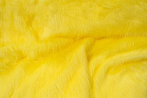 Budget faux fur Low price flavine yellow longhaired faux fur fabric – AC356
