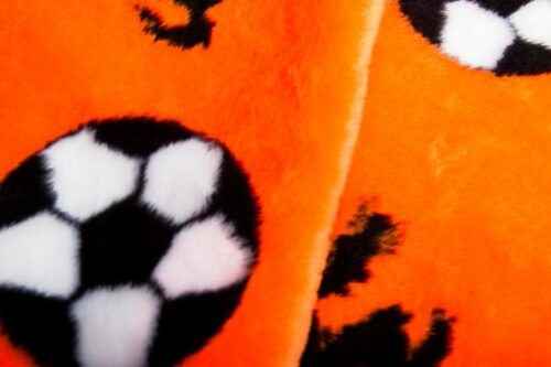 Budget faux fur Orange Balls and Lions Faux fur fabric by the metre – R2/60 1173/1