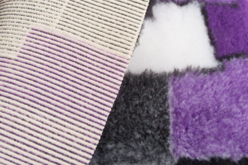Faux fur by the metre Purple faux fur fabric by the metre for cats and dogs beddings – YF 317 R.Purple/Ecru