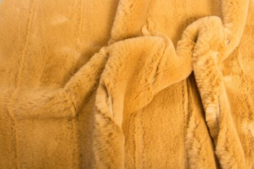 Faux fur by the metre Horizontal Striped Gold Rabbit Faux fur fabric by the metre – 2R335 Autumn Gold