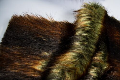 Faux fur by the metre Green/Brown imitation raccoon faux fur fabric by the metre – 1607 Woodland