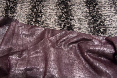 Faux fur by the metre Short pile faux fur fabric by the meter, limited edition, Astrakan, Grey / Silver/Purple, faux leather back