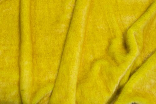 On Sale Now Medium pile faux fur fabric by the meter, limited edition, Seal/Otter, Yellow / Gold
